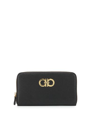 Double Gancio Zip-Around Wallet, Black (Nero)
