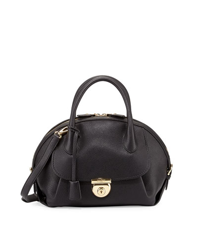 Fiamma Ornament Lock Satchel Bag, Nero