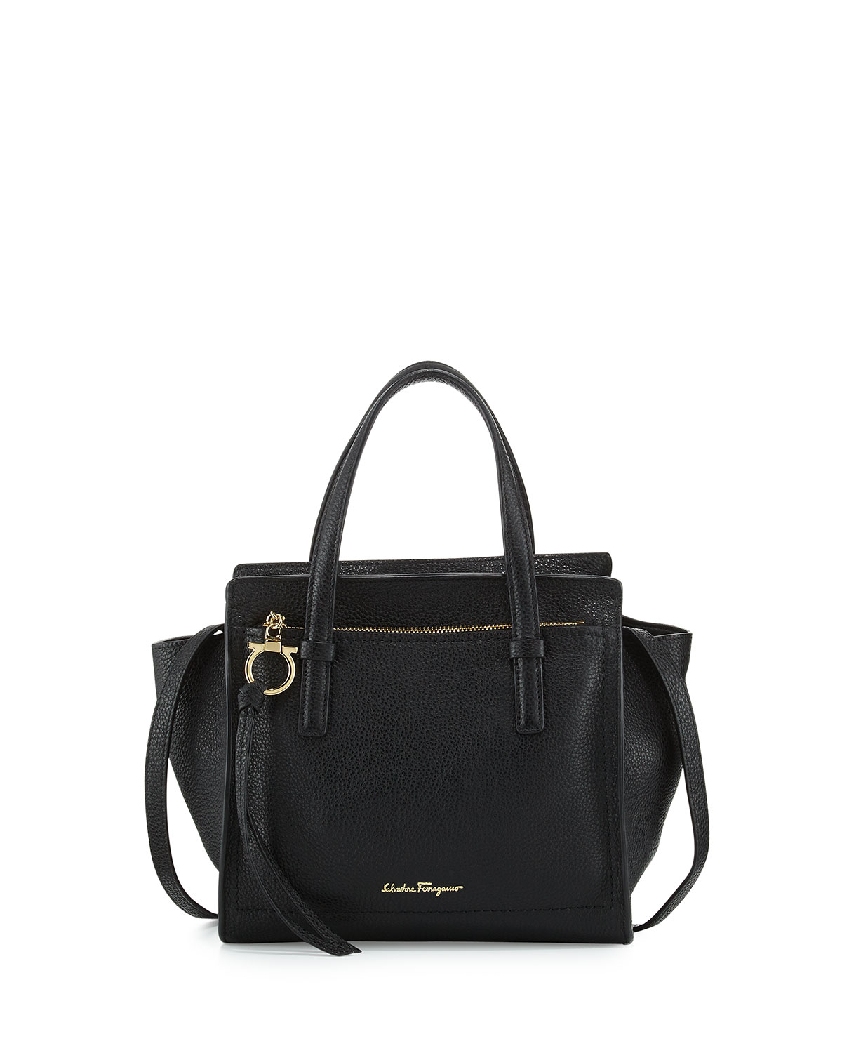 Small Leather Tote Bag, Nero