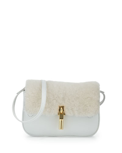 Cynnie Nano Shearling Crossbody Fur Bag, Vanilla