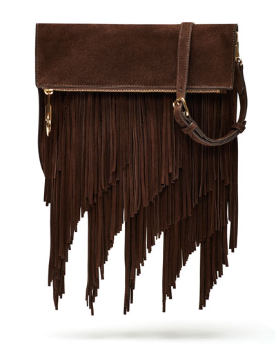 Andrew Suede Fringe Clutch Bag, Chocolate