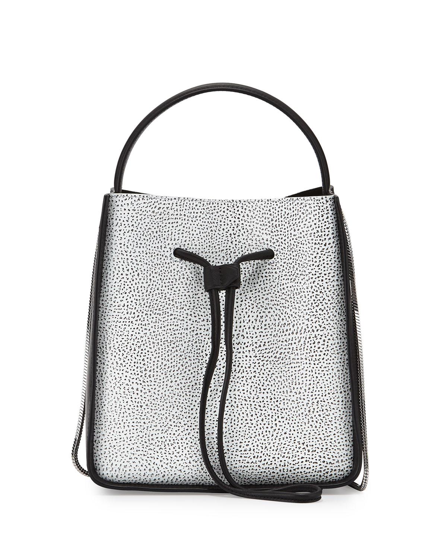 Soleil Small Drawstring Bucket Bag, White/Black