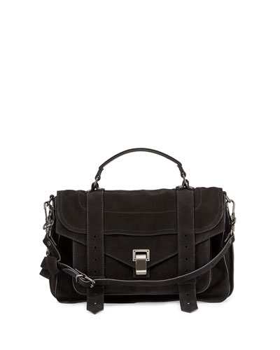 PS1 Medium Suede Satchel Bag, Black