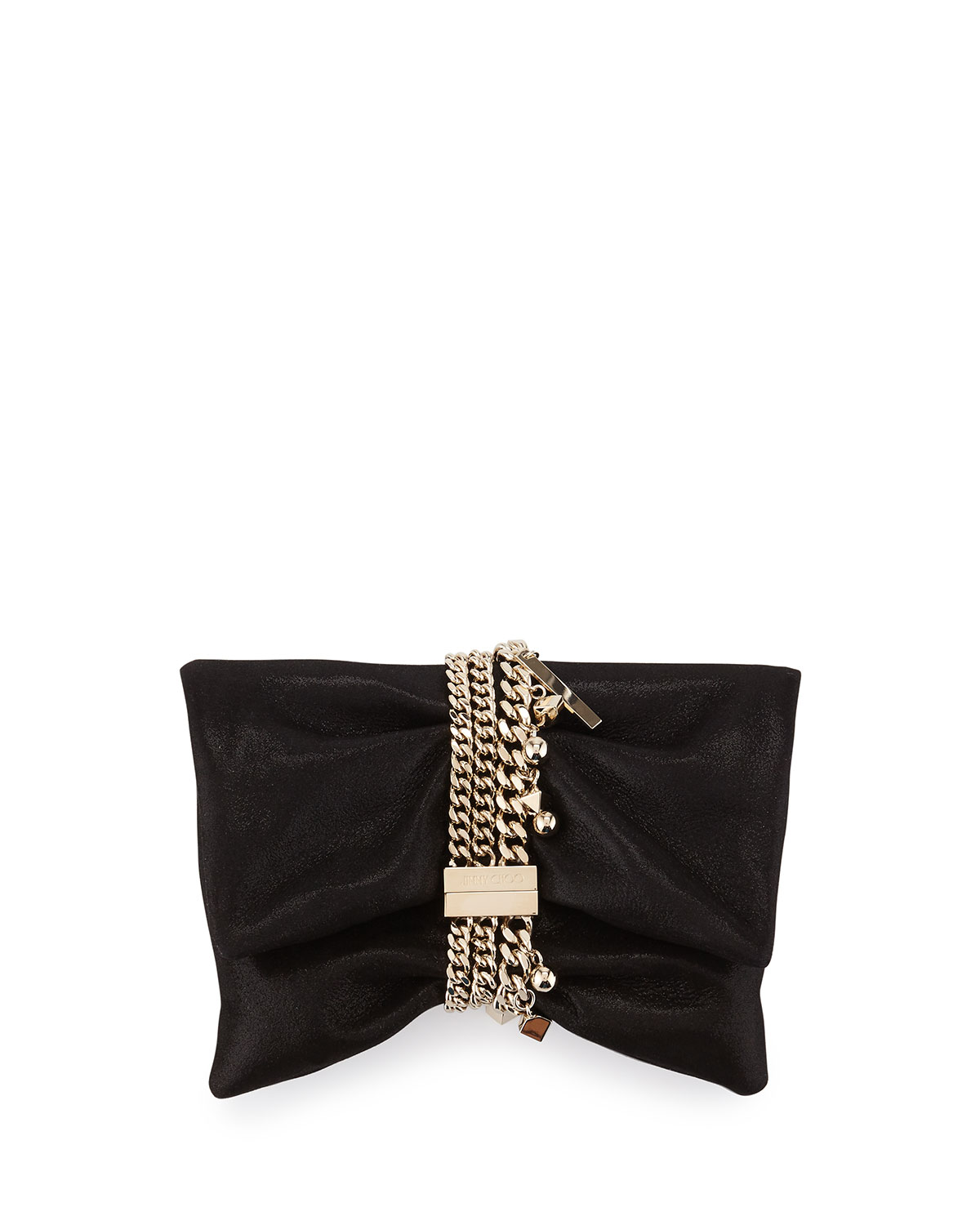 Chandra Shimmery Suede Clutch Bag