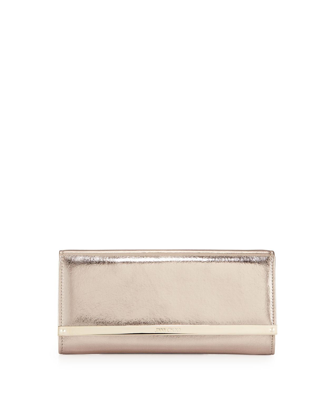 Milla Metallic Leather Clutch Bag, Nude