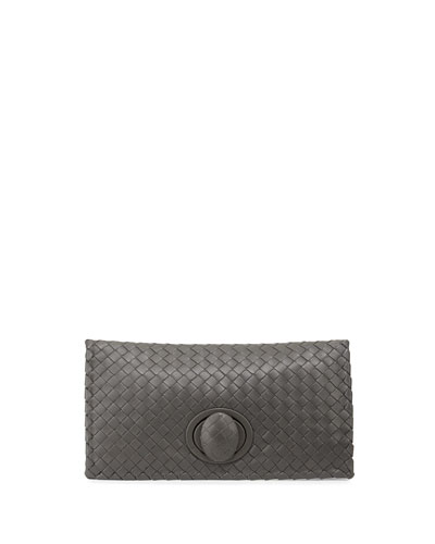 Veneta Turn-Lock Clutch Bag, New Light Gray