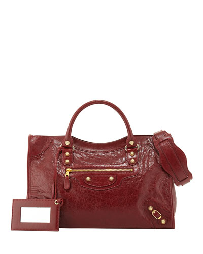 Giant 12 Golden City Lambskin Tote Bag, Red