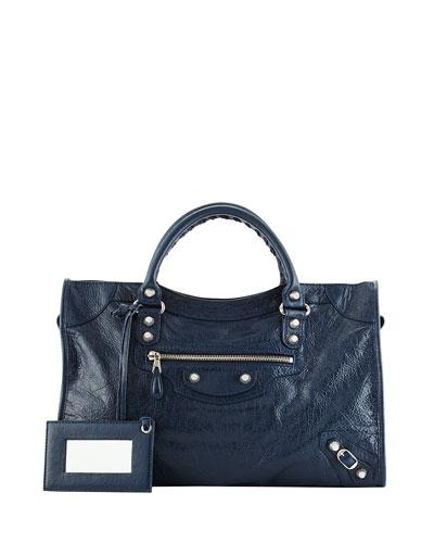 Giant 12 City Lambskin Satchel Bag, Navy Blue