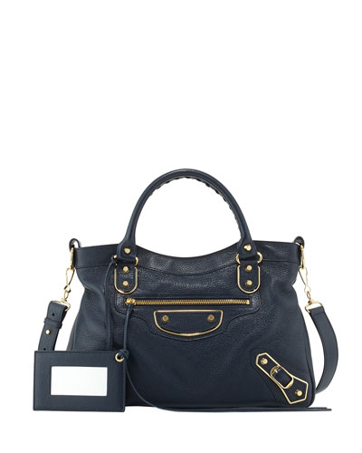 Edge Town Goatskin Satchel Bag, Dark Sea