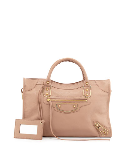 Metallic Edge City Bag, Rose