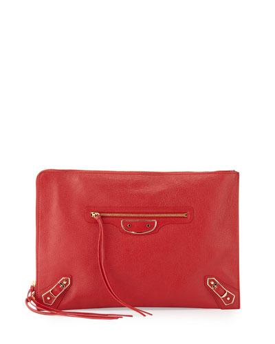 Metallic Edge Flat Zip Pouch Bag, Red