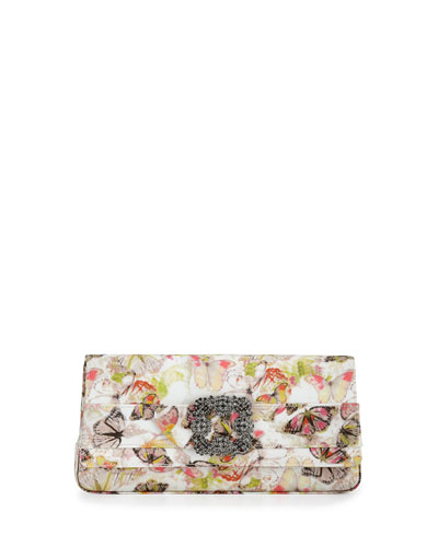 Gothisi Butterfly Fabric Buckle Clutch Bag, Multi