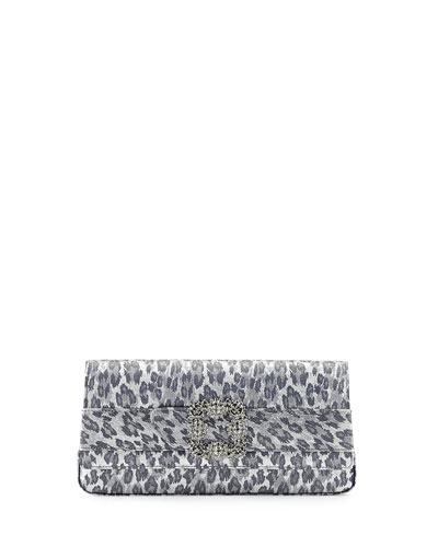 Gothisi Leopard Savage Clutch Bag, Silver/Black