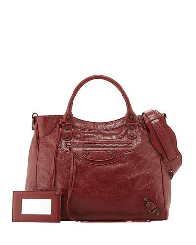 Classic Velo Lambskin Crossbody Bag, Red