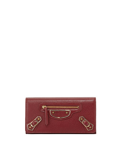 Edge Goatskin Money Wallet, Dark Red