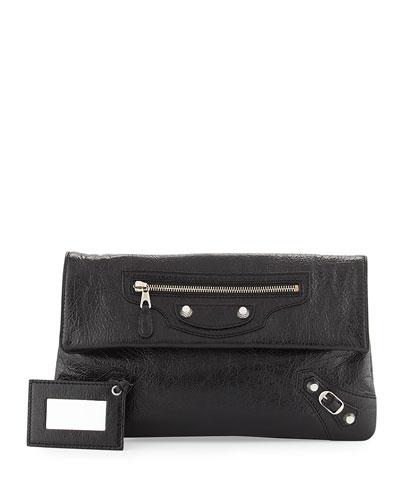 Giant 12 Lambskin Envelope Crossbody Bag, Black