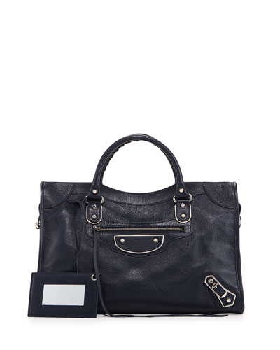 Classic Metallic Edge City Bag, Dark Blue