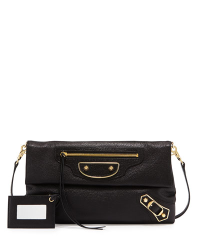 Metallic Classic Edge Envelope Crossbody Bag, Black