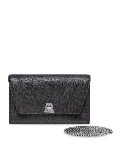 Anouk Leather Clutch Bag w/Chain, Black