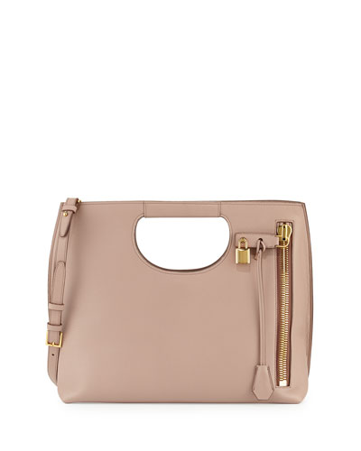 Alix Medium Calf Leather Tote Bag, Blush Nude