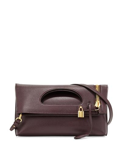 Alix Calf Fold-Over Shoulder Bag, Red