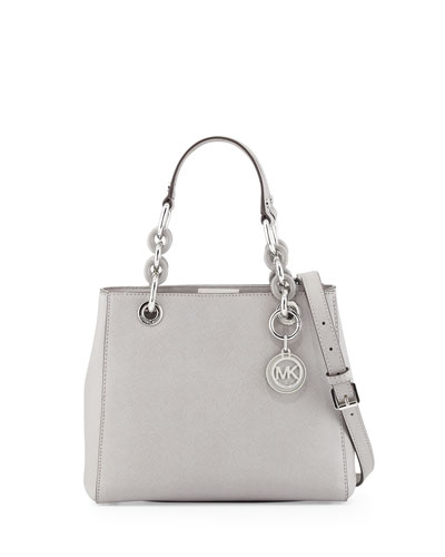 Cynthia Small Saffiano Satchel Bag, Pearl Gray