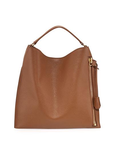 Alix Large Leather Hobo Bag, Tan
