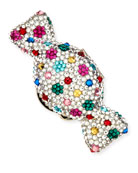 Polka Dots Crystal Candy Pillbox, Silver Multi