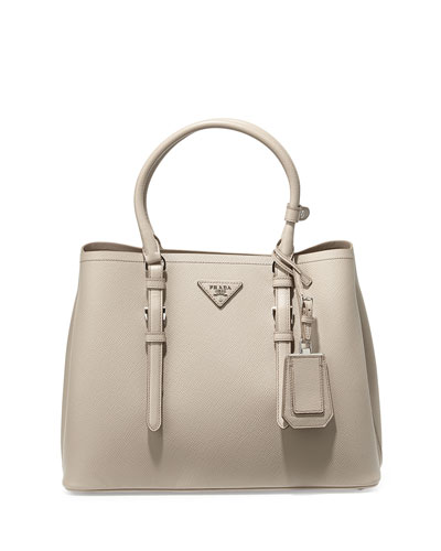 Saffiano Cuir Covered-Strap Double Bag, Gray (Pomice)