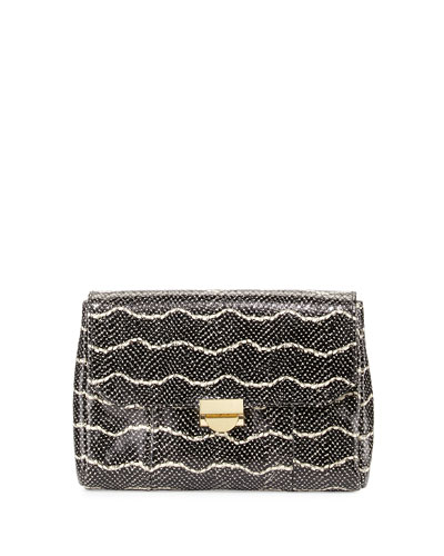 Mini Marlow Snake-Embossed Leather Clutch Bag, Black/Cream