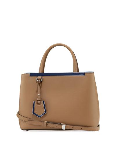 2Jours Leather Satchel Bag, Powder