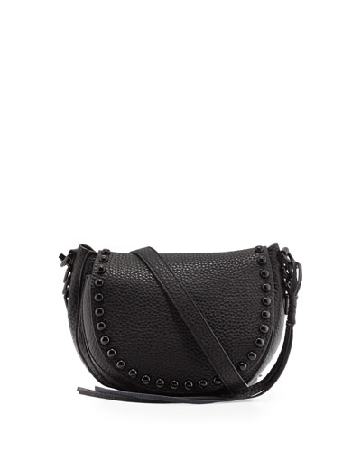 Pebbled Leather Studded Saddle Bag, Black