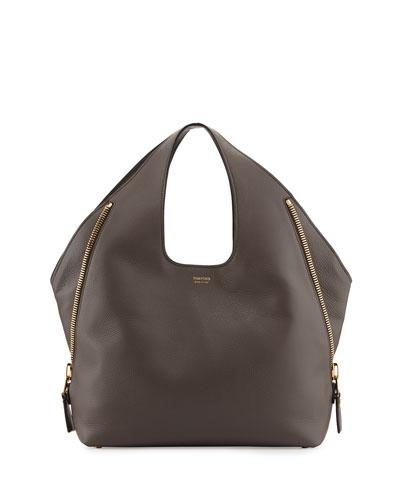 Jennifer Side-Zip Leather Hobo Bag, Graphite