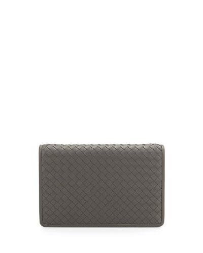 Intrecciato Medium Woven Clutch Bag, Light Gray