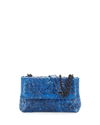 Baby Olimpia Snakeskin Shoulder Bag, Cobalt