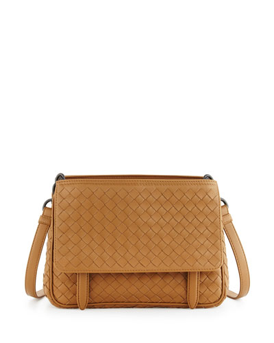 Intrecciato Medium Flap-Tab Bag, Camel
