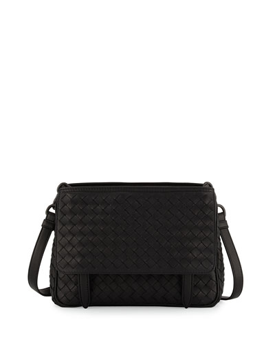 Intrecciato Medium Flap-Tab Bag, Black