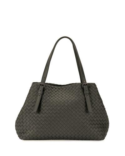 Intrecciato Medium A-Shaped Tote Bag, Light Gray