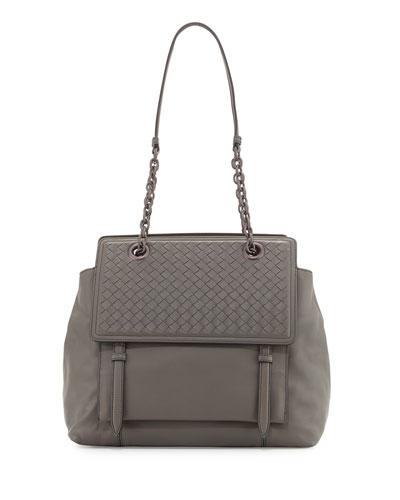 Intrecciato Large Flap Satchel Bag, Light Gray