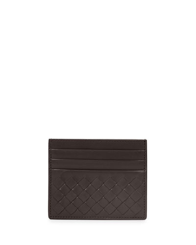 Intrecciato Leather Card Case, Dark Brown