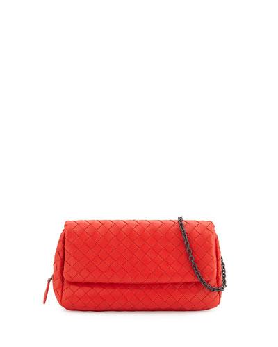 Intrecciato Mini Chain Crossbody Bag, Red