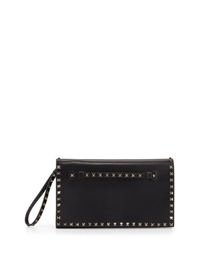 Rockstud Leather Full-Flap Wristlet Clutch Bag, Black (Noir)