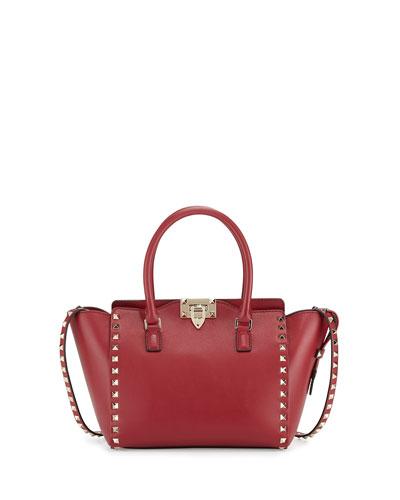 Rockstud Small Leather Shopper Tote Bag, Scarlet