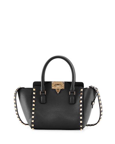 Rockstud Micro Leather Tote Bag, Black