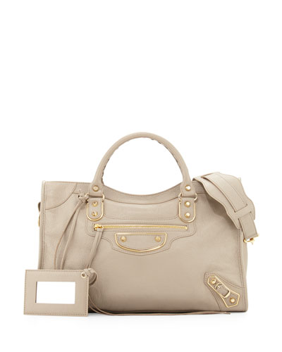 Metallic Edge Golden City Bag, Taupe