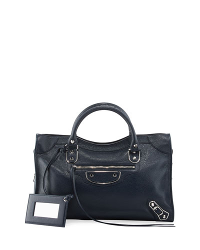 Metallic Edge City Bag, Royal Blue