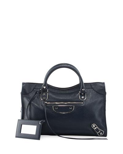 Metallic Edge City Bag, Royal Blue