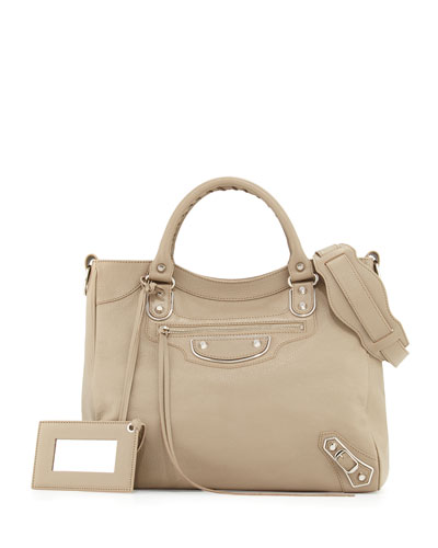 Metallic Edge Nickel Velo AJ Bag, Taupe