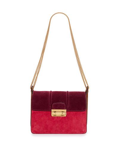 Jiji Bicolor Suede Shoulder Bag, Purple/Fuchsia