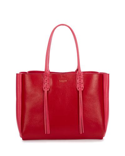 Medium Bicolor Leather Tote Bag w/Fringe, Red/Pink